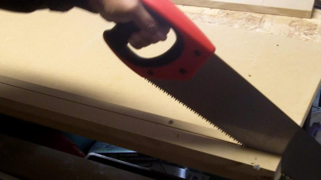 Straight Cut Using A Hand Saw Through MDF